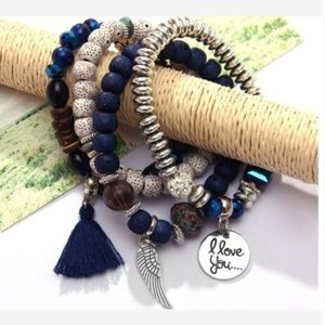 New! Women's Boho Buckle Beaded Charm Bracelet Set